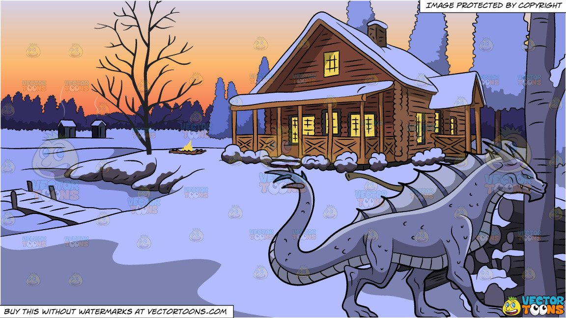A violet dragon and. Lake clipart winter