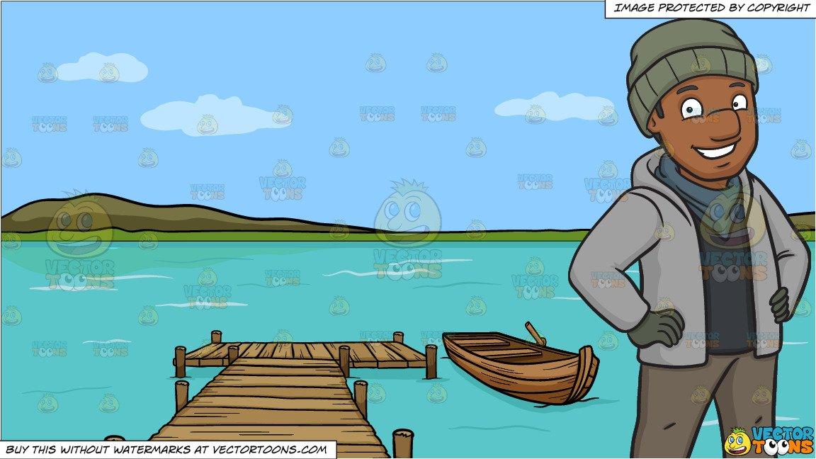 A happy black man. Lake clipart wooden dock