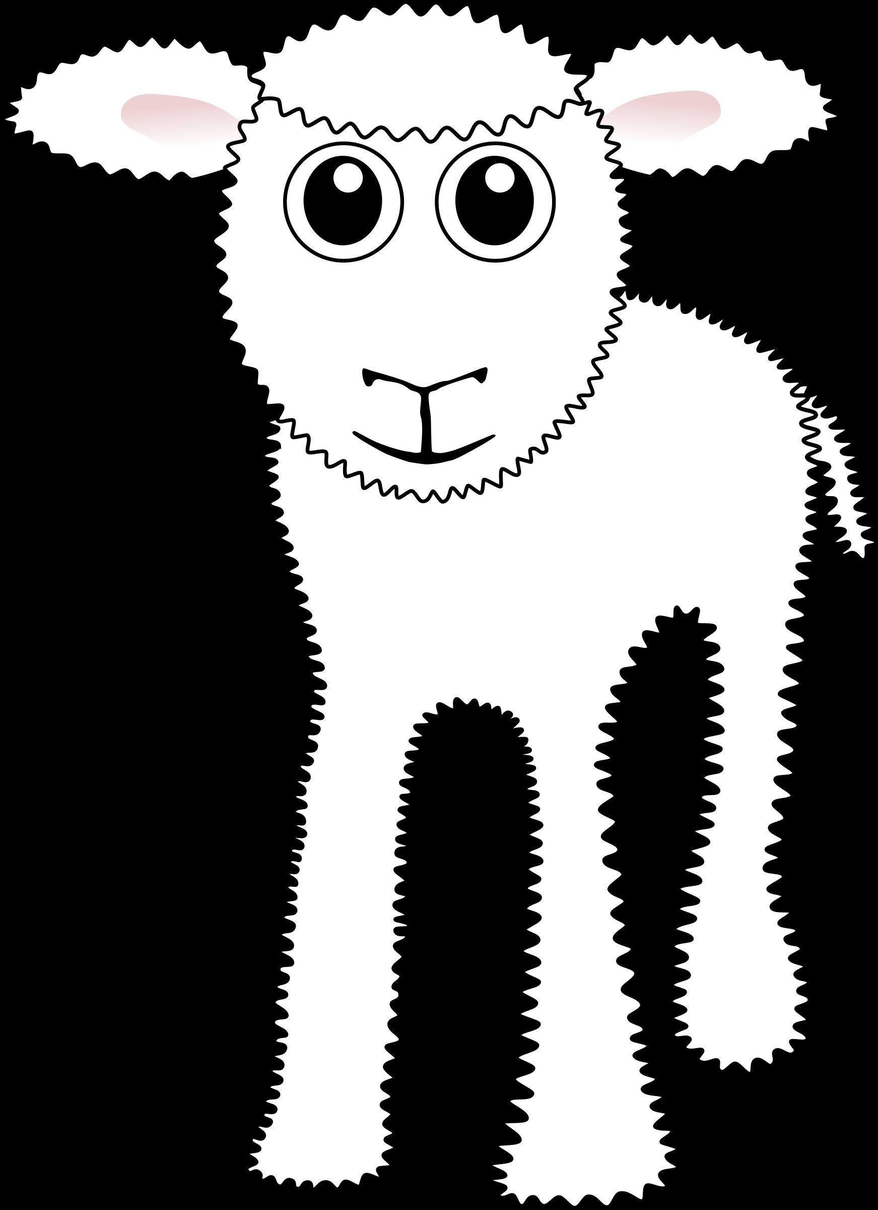 White clipart lamb. Funny cartoon big image