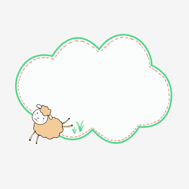 Hand drawn clouds green. Lamb clipart border