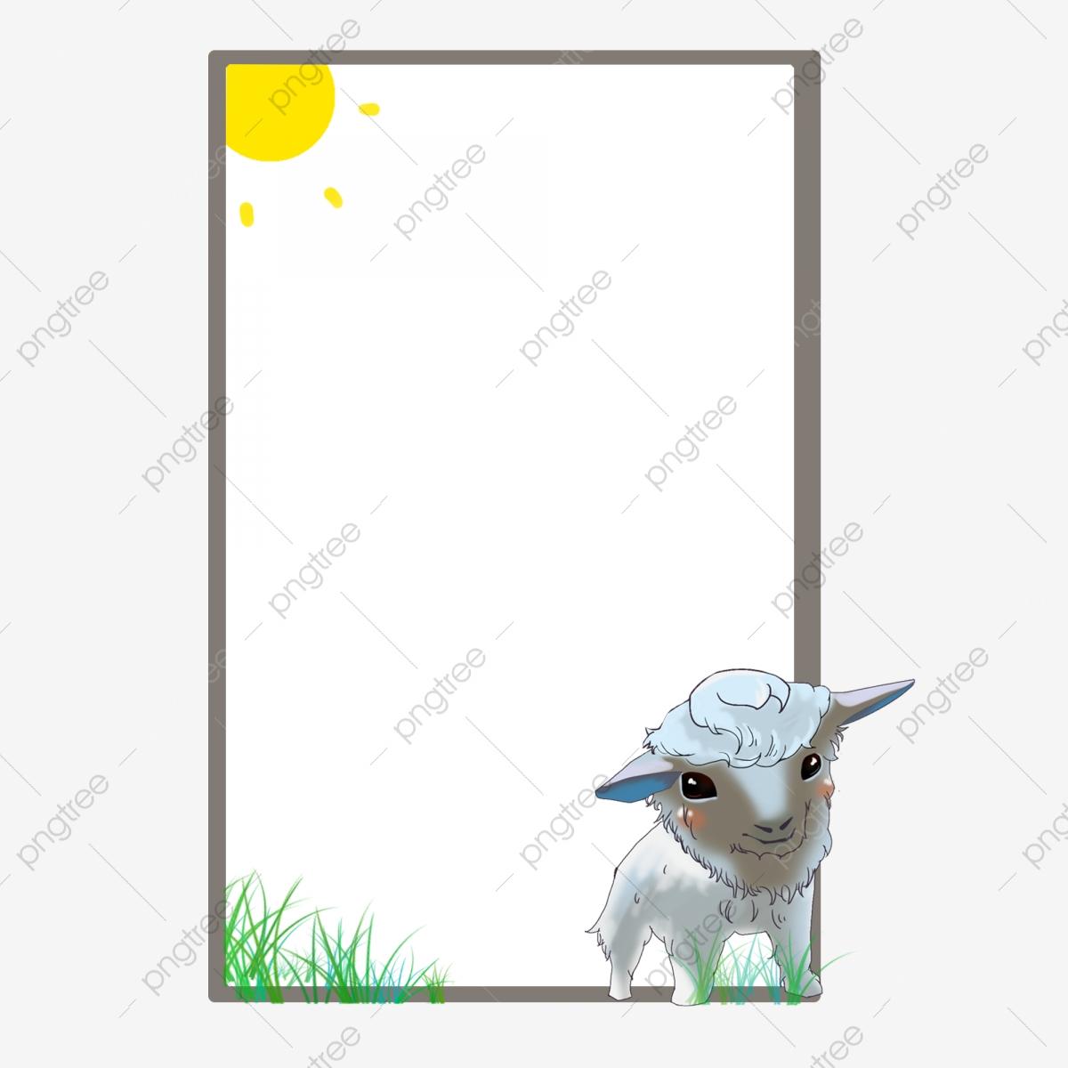 Beautiful cute . Lamb clipart border