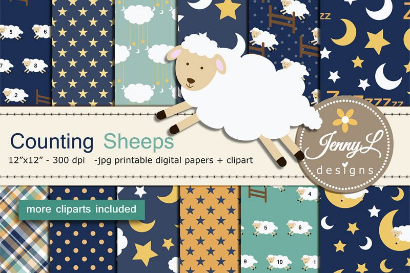Lamb clipart counting sheep. Digital papers and set