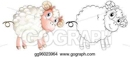 Lamb clipart doodle. Vector illustration animal for