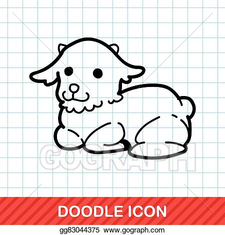 Lamb clipart doodle. Eps vector stock illustration