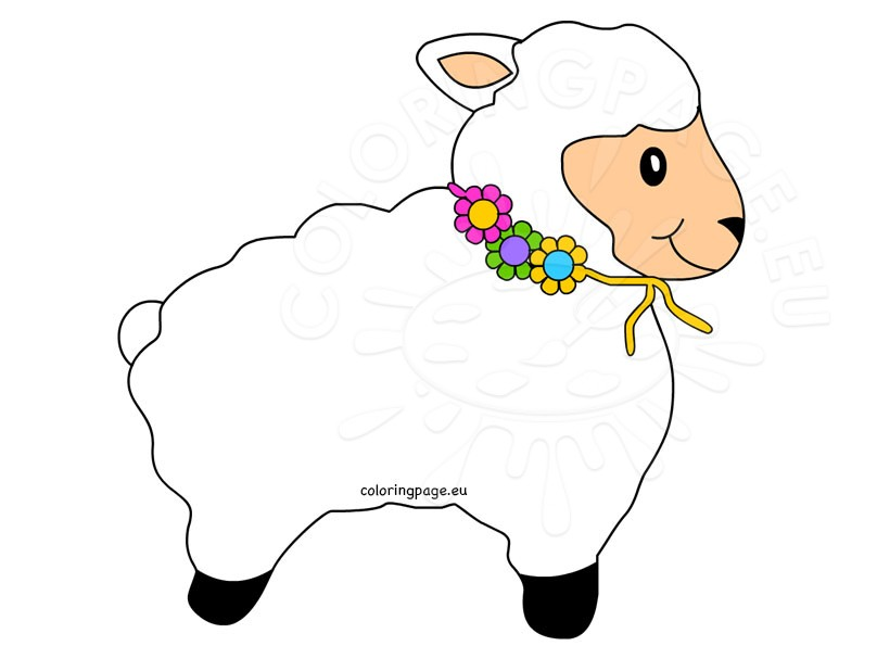 Lamb clipart kid. Cute coloring page