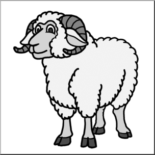 Lamb clipart ram. Sheep black and white