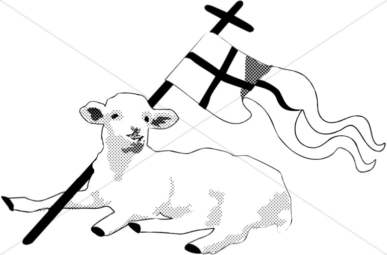 Lamb clipart religious. Black and white with