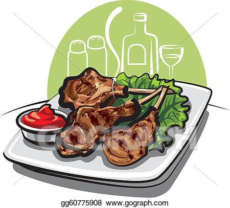 Lamb clipart roast lamb. Vector roasted chops illustration
