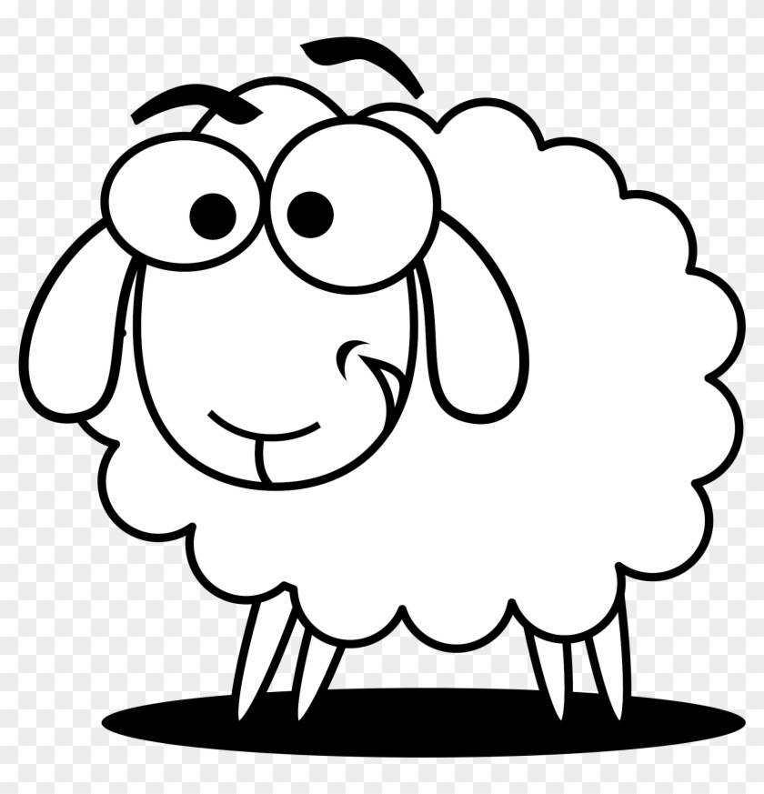 Sheep black and white. Lamb clipart scared