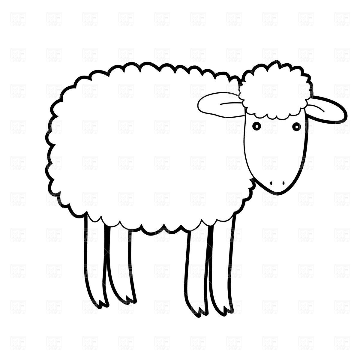 Lamb clipart sheep drawing. Black and tattoos cartoon