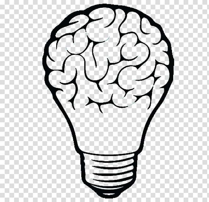 Incandescent light bulb drawing. Lamp clipart brain