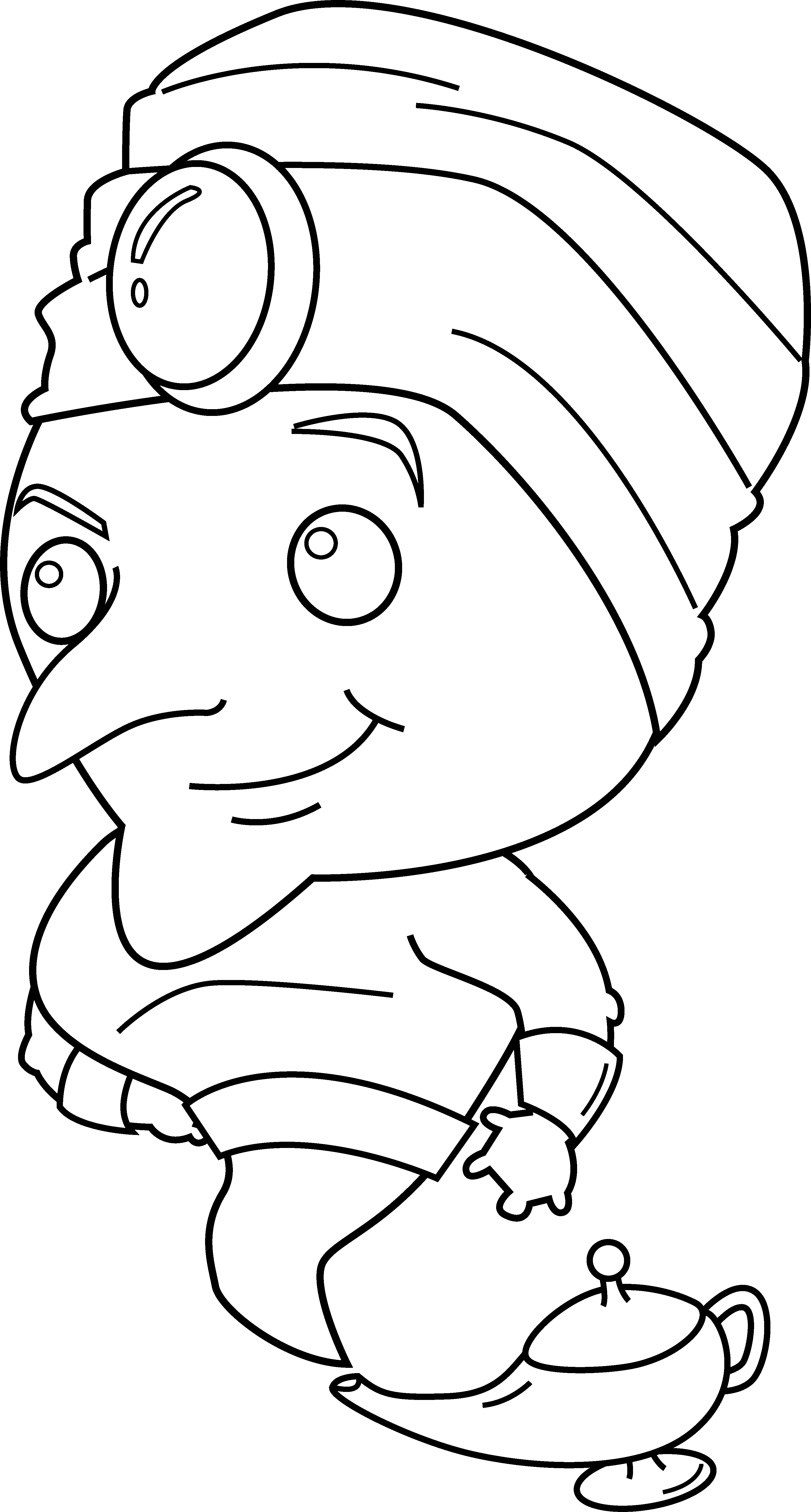 Lamp clipart coloring page. Magic genie free clip