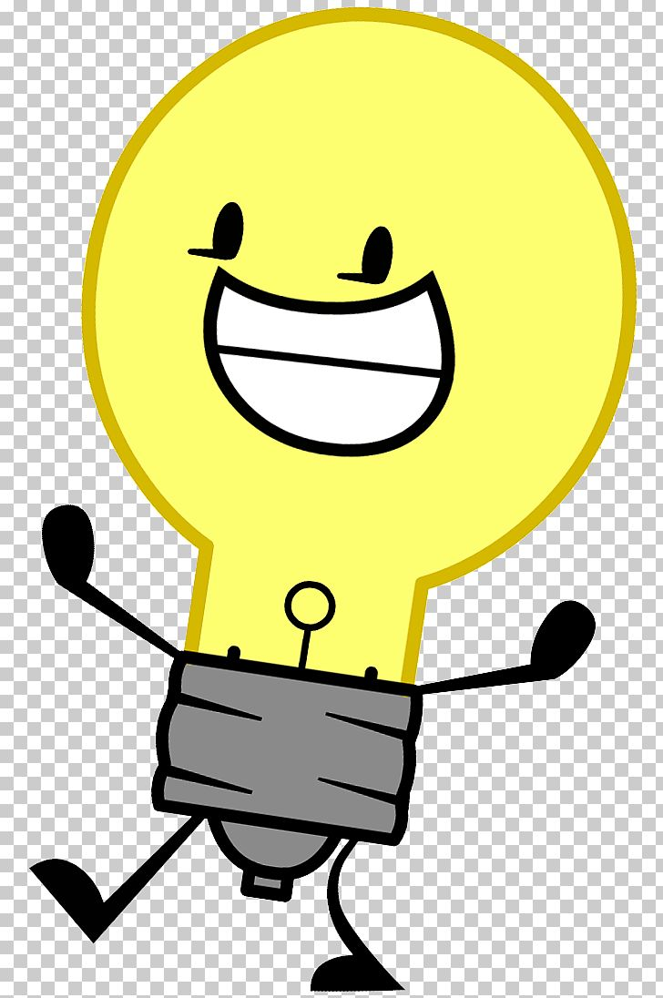Incandescent light bulb cartoon. Lamp clipart happy