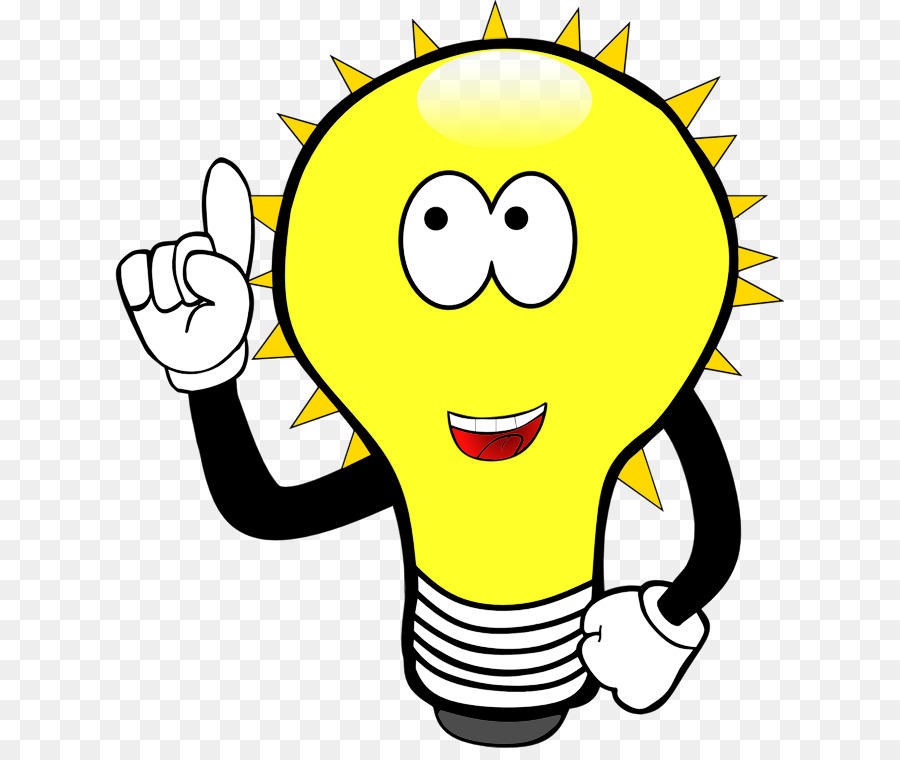 Light bulb icon cartoon. Lamp clipart happy