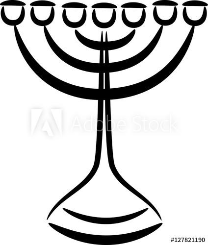 Menorah seven made of. Lamp clipart lampstand