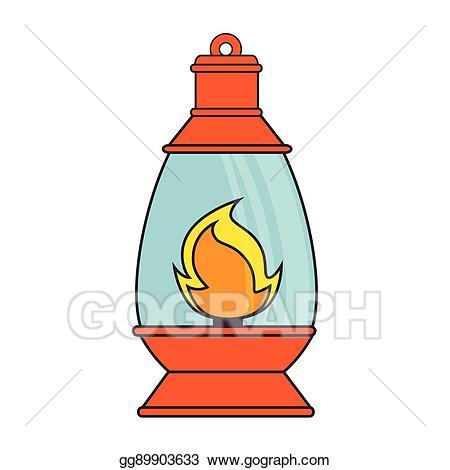 Vector art lantern lamp. Torch clipart camping