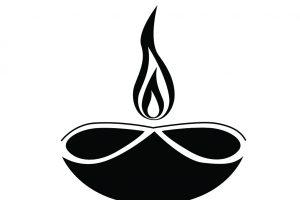 Deepavali black and white. Lamp clipart prodip