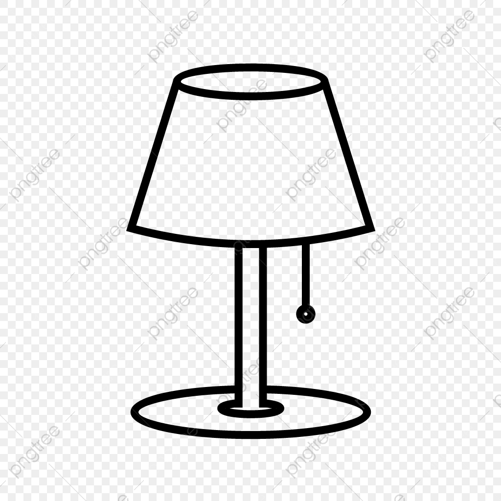 Table line black icon. Lamp clipart vector