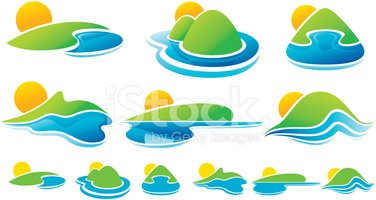 Sun icons stock vectors. Land clipart land water