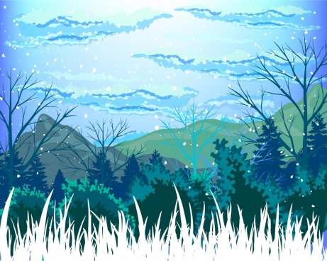 Winter free vector download. Landscape clipart
