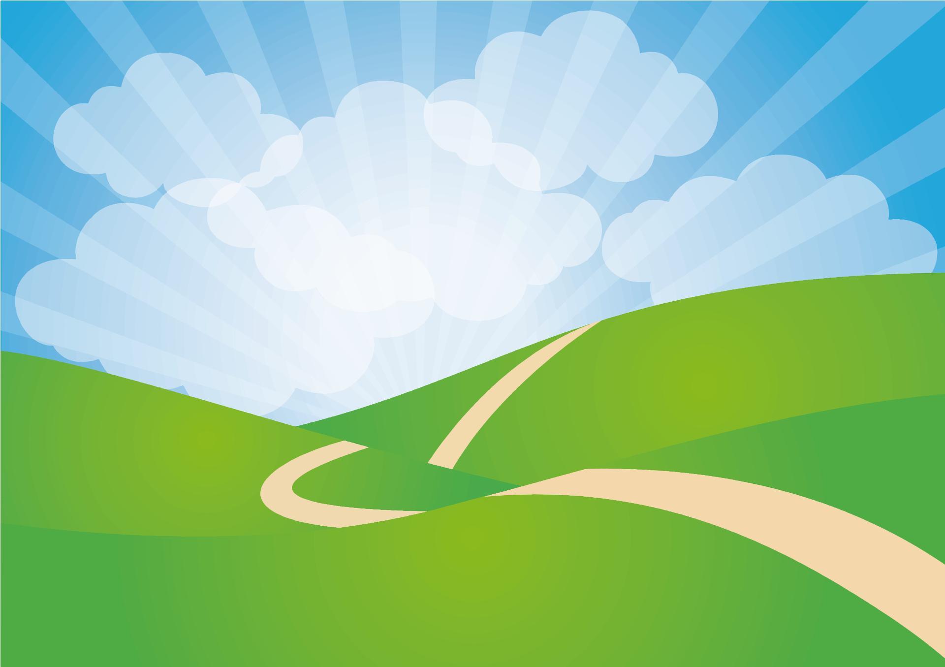 Green rolling hills design. Landscape clipart