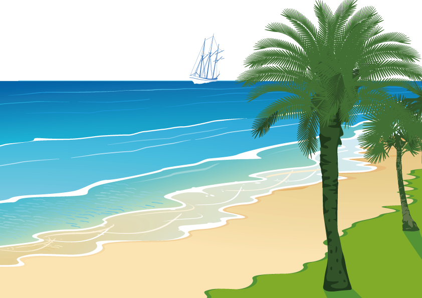Sunny clipart scenery. Beach cartoon clip art