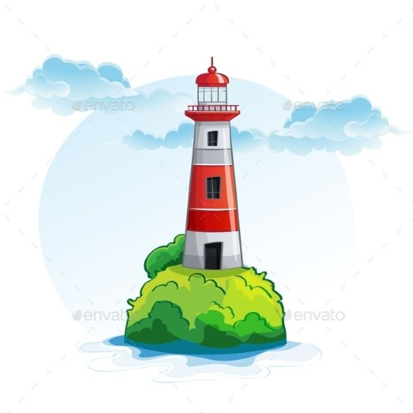 Lighthouse clipart landscape. Cartoon image of the