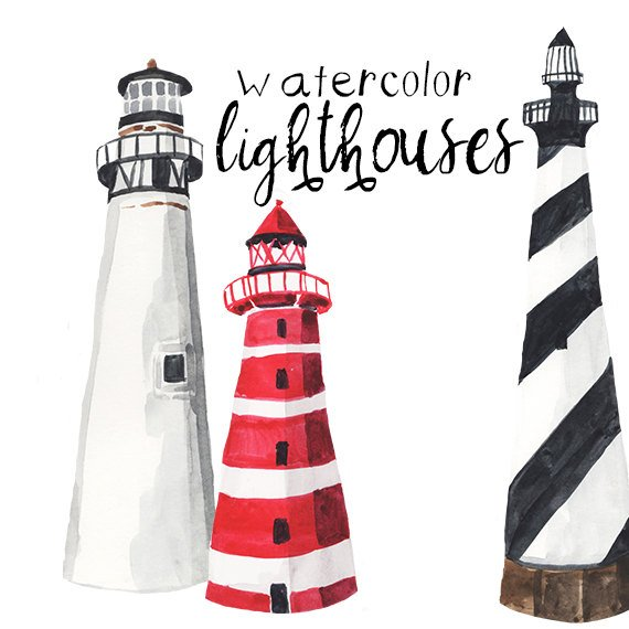 Watercolor lighthouses nautical party. Lighthouse clipart landscape