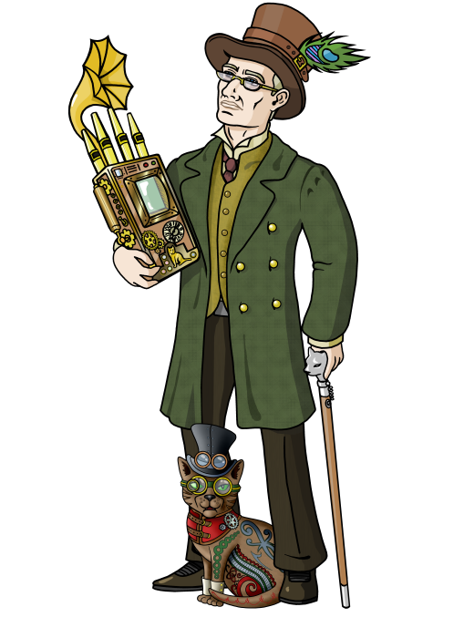 Steampunk clipart north point. The wizard has bad