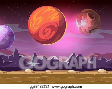 Vector cartoon alien fantastic. Planets clipart landscape