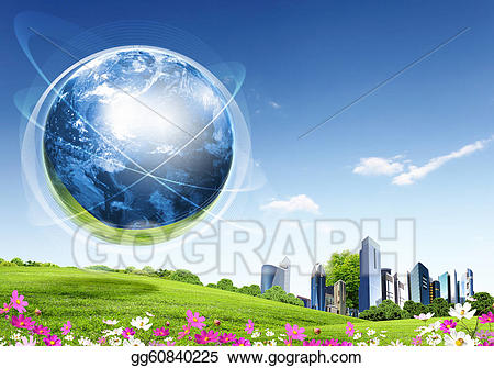 Planets clipart landscape. Stock illustration green nature
