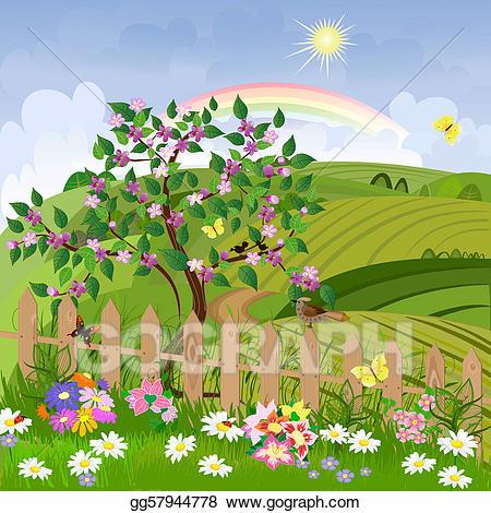 Landscape clipart spring season. Vector stock illustration