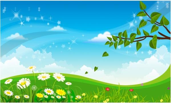 Landscape clipart spring season. Free vector in adobe