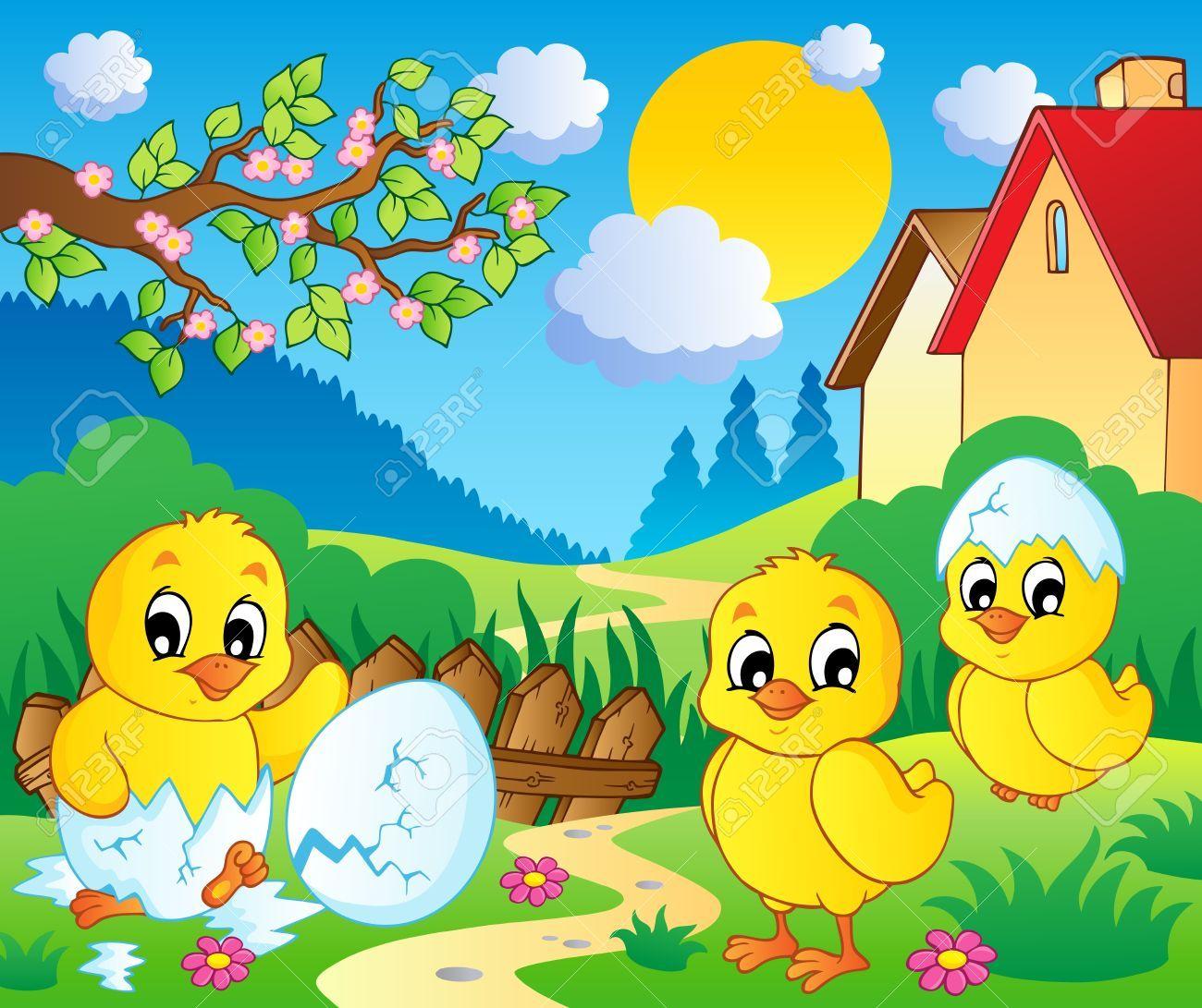 Landscape clipart spring season. Stock vector att li