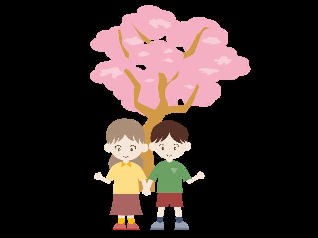 Sakura child illustration free. Landscape clipart spring season