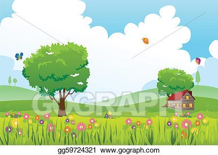 Vector art nature eps. Landscape clipart spring season