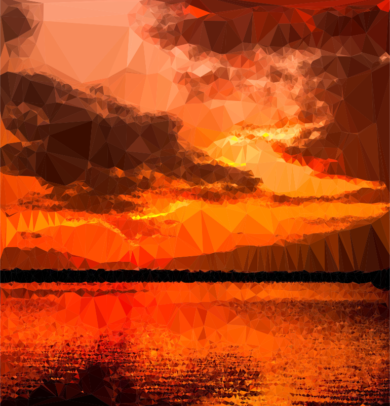 Sunset clipart sunset landscape. Low poly ocher medium
