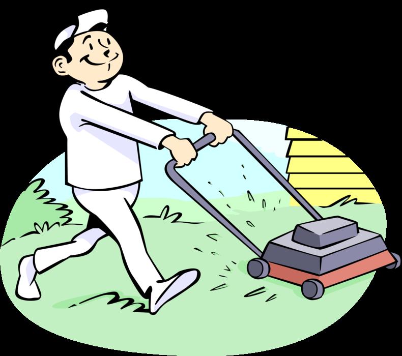 Lawnmower clipart landscape maintenance. Lawn care worker cuts