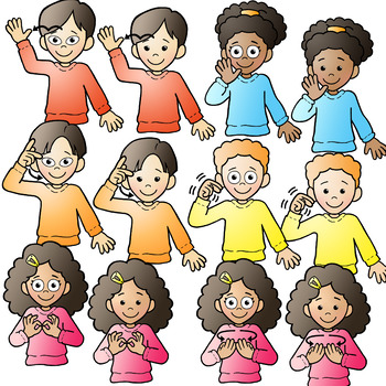 Language clipart. Asl american sign kids