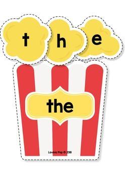 Language clipart building word. Sight words center popcorn