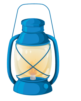 Lantern clipart. Various objects of camping