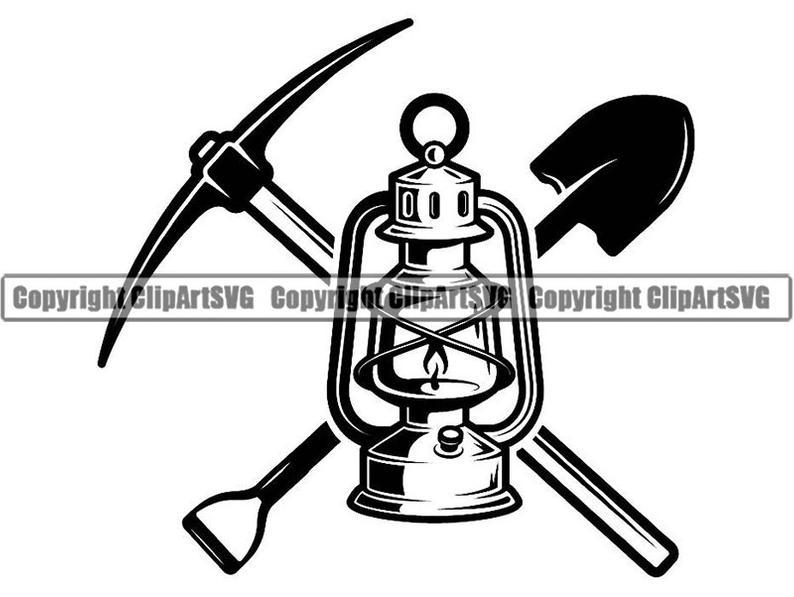 Lantern clipart mining. Logo pick axe shovel