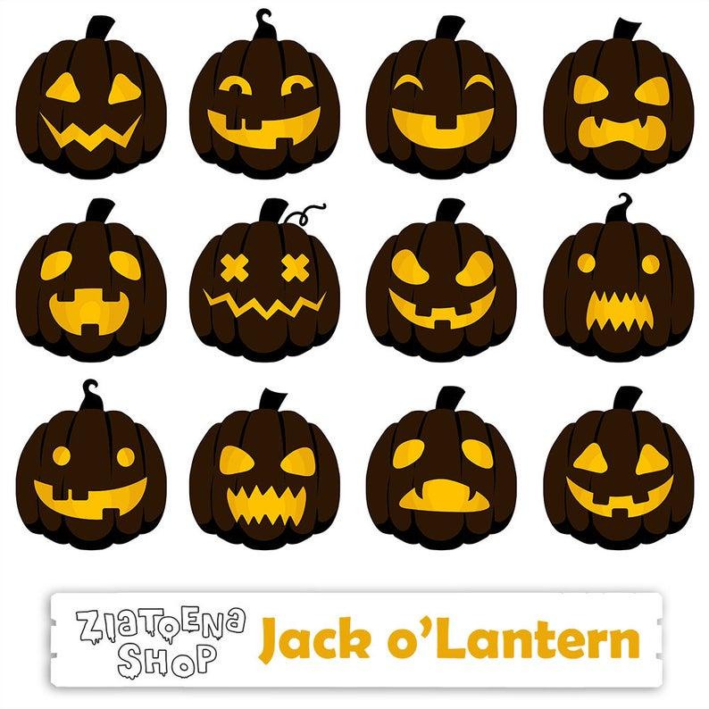 Pumpkin clipart lantern. Jack o halloween digital
