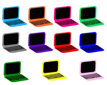 Colored laptops . Laptop clipart colorful