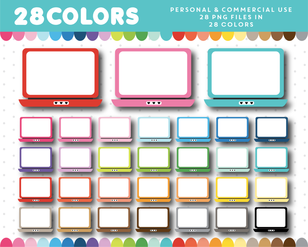 Laptop clipart colorful. Computer in colors cl