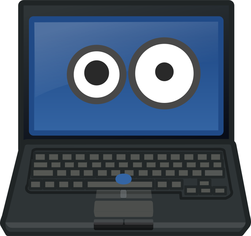 Eye contact medium image. Laptop clipart display