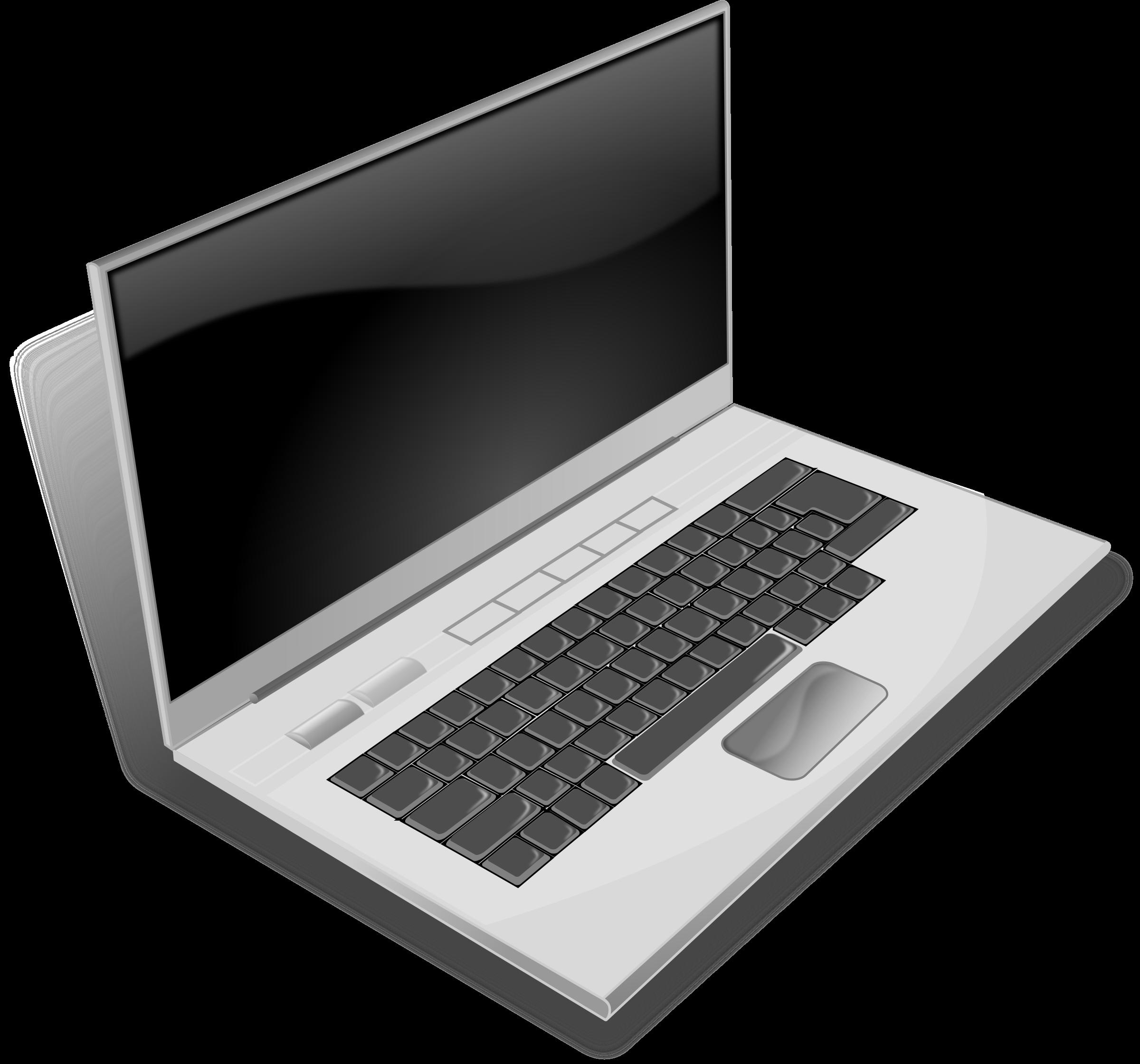 Notebook clipart small notebook. A gray laptop big