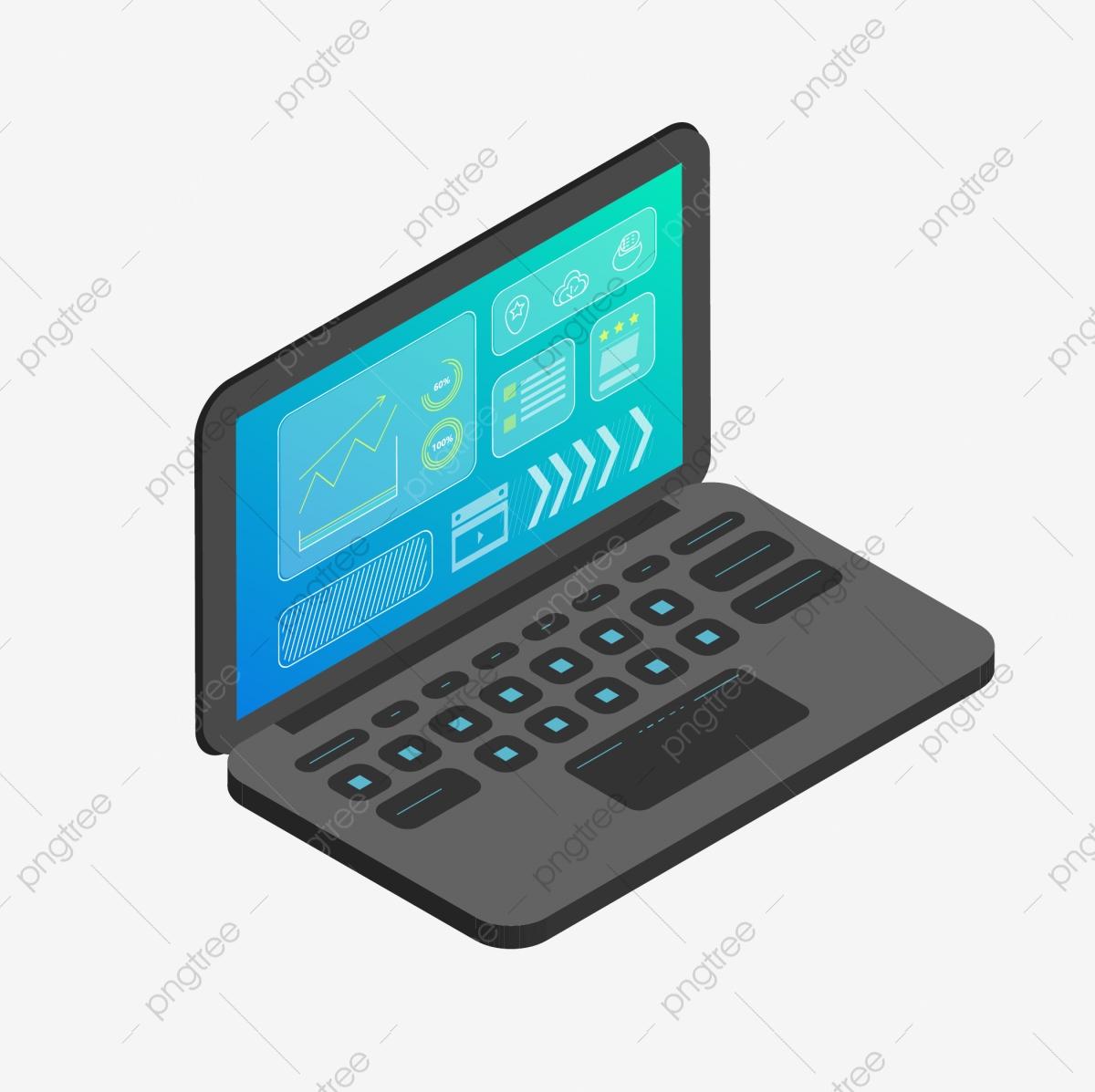 d blue computer. Laptop clipart technology