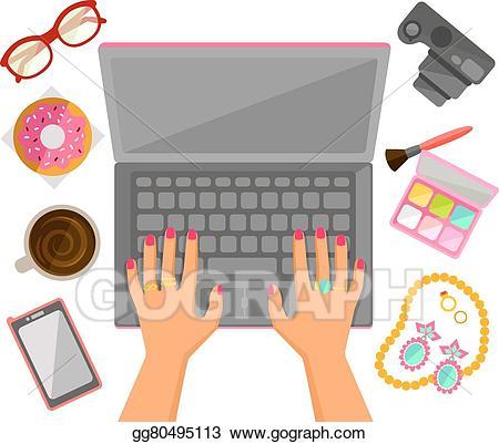 Vector art female hands. Laptop clipart typing