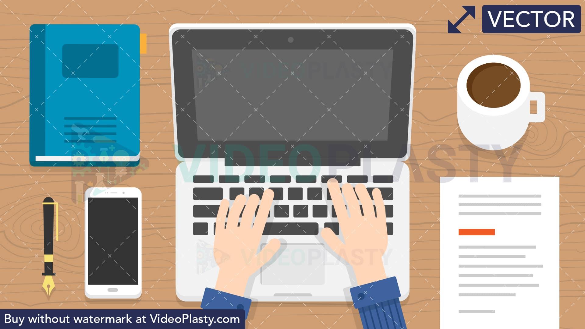 Laptop clipart typing. Scene vector